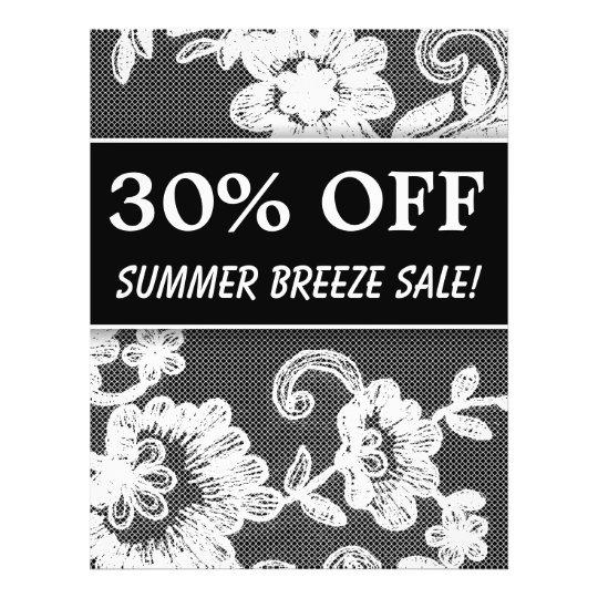 30 OFF Sale Flyer Black White Lace