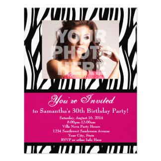 30 Pink Zebra Swirl Custom Invitations