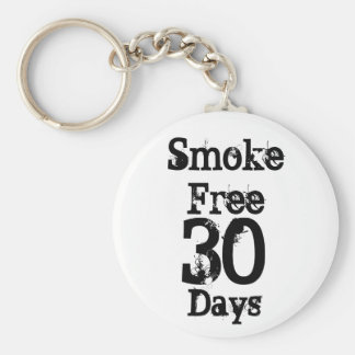 30 , Smoke Free , Days Basic Round Button Key Ring