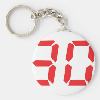 30 thirty red alarm clock digital number basic round button key ring