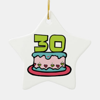 30 Year Old Birthday Cake Ceramic Star Decoration