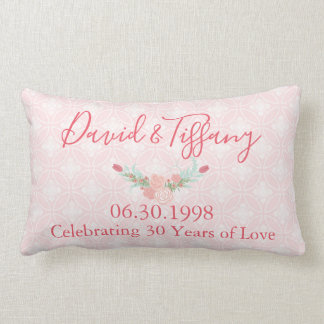 30 Year Wedding Anniversary Pink Floral Lumbar Cushion