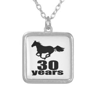 30 Years Birthday Designs Silver Plated Necklace