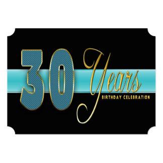 "30 YEARS BIRTHDAY PARTY INVITATION AQUA/BLACK 5"" X 7"" INVITATION CARD"
