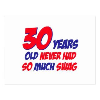 30 years old birthday design postcard