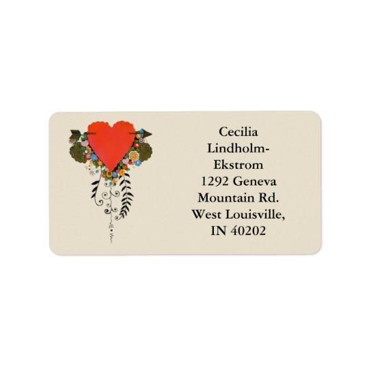 30s Valentine Heart in Red Address Label
