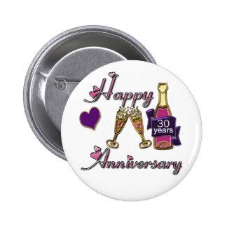 30th. Anniversary 6 Cm Round Badge