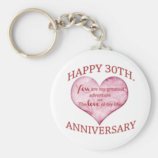 30th. Anniversary Basic Round Button Key Ring