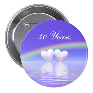 30th Anniversary Pearl Hearts 7.5 Cm Round Badge