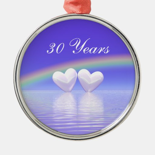 30th Anniversary Pearl Hearts Christmas Ornament