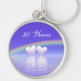 30th Anniversary Pearl Hearts Silver-Colored Round Key Ring