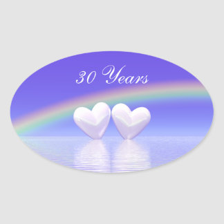 30th Anniversary Pearl Hearts Oval Sticker