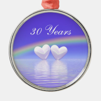 30th Anniversary Pearl Hearts Silver-Colored Round Decoration