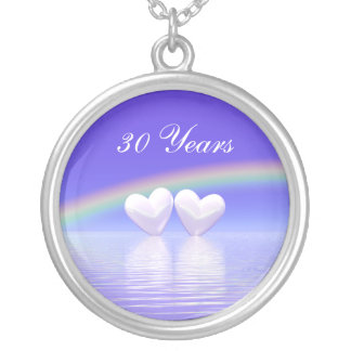 30th Anniversary Pearl Hearts Silver Plated Necklace