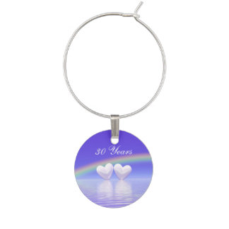 30th Anniversary Pearl Hearts Wine Glass Charms