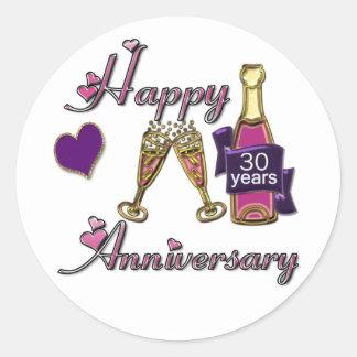 30th. Anniversary Round Sticker