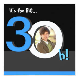 30th Big 3Oh! Photo Birthday Party Template Photo 13 Cm X 13 Cm Square Invitation Card