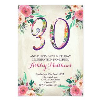 30th birthday Beautiful Floral Invitation, 13 Cm X 18 Cm Invitation Card