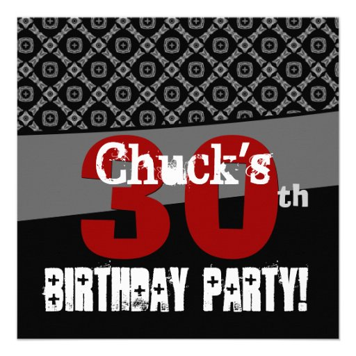 30th Birthday Black and White Pattern For Him Custom Announcements