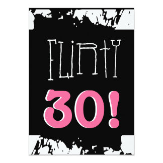 30th Birthday Black White Pink Grunge Zebra FLIRTY Card