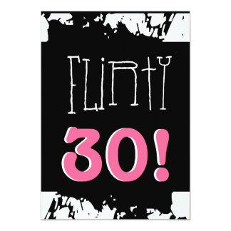 30th Birthday Black White Pink Grunge Zebra FLIRTY 13 Cm X 18 Cm Invitation Card