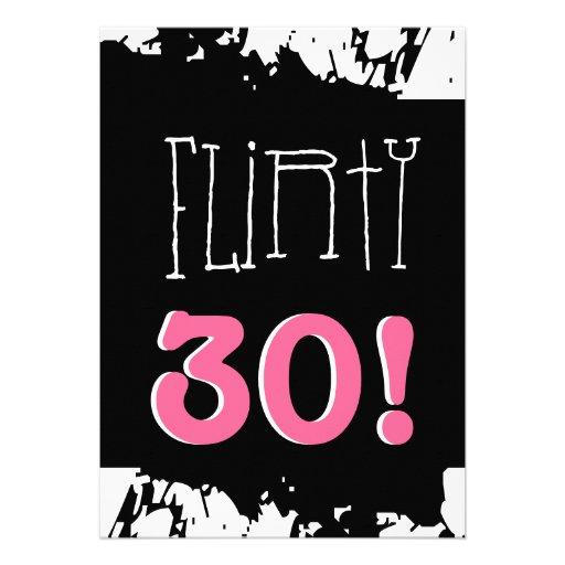 30th Birthday Black White Pink Zebra FLIRTY THIRTY Card