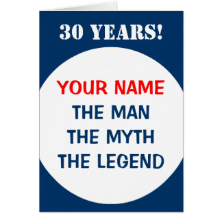 30th Birthday card for men | The man myth legend