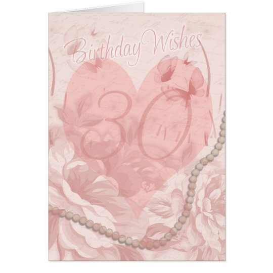 30th Birthday Card, Pink Floral, Heart With Butter Card