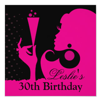 30th Birthday Cocktail Party pink 13 Cm X 13 Cm Square Invitation Card