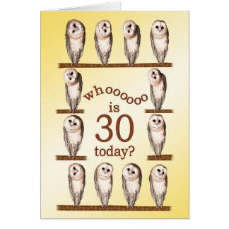30th birthday, Curious owls card. Card