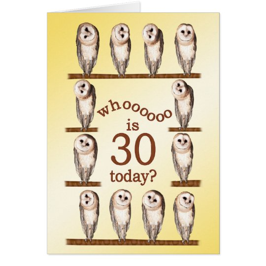 30th birthday, Curious owls card. Card