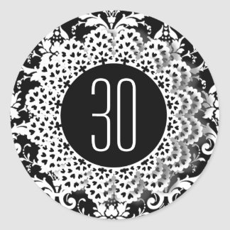 30th Birthday Damask and Lace 009CK Classic Round Sticker