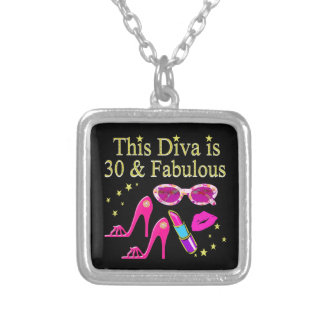 30TH BIRTHDAY DAZZLING DIVA DESIGN SILVER PLATED NECKLACE