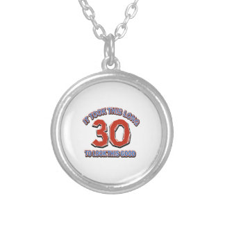 30th birthday design silver plated necklace