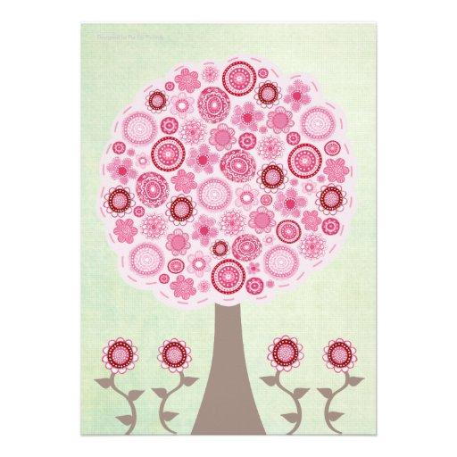 30th Birthday Designer Pink Tree Invitation