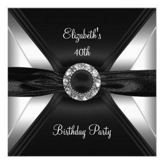 30th Birthday Diamond Image Black White Silver Invitation