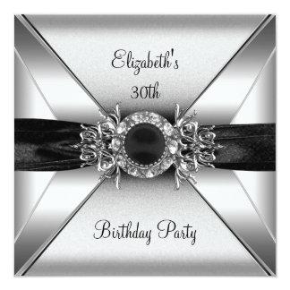 30th Birthday Diamond Jewel Black White Silver 13 Cm X 13 Cm Square Invitation Card