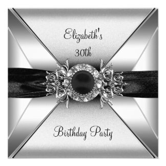 30th Birthday Diamond Jewel Black White Silver Personalized Announcements