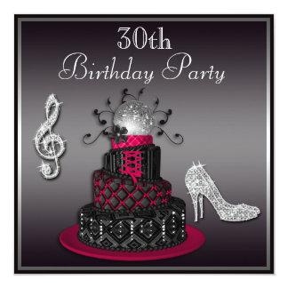 30th Birthday Disco Diva Cake and Heels Hot Pink 13 Cm X 13 Cm Square Invitation Card