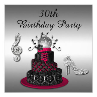 30th Birthday Disco Diva Cake and Sparkle Heels Personalized Invite