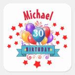 30th Birthday Festive Colourful Balloons C01BZ Square Sticker