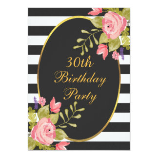30th Birthday Floral Black White Stripes Gold Foil Card