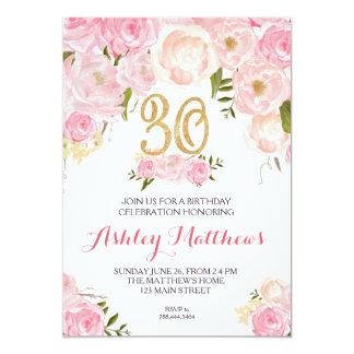 30th birthday Floral Invitation, 13 Cm X 18 Cm Invitation Card