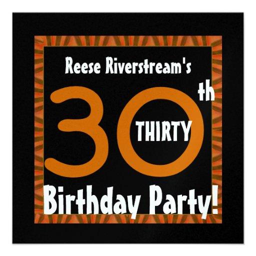 30th Birthday Gold Orange Black Stripes W412 Announcement