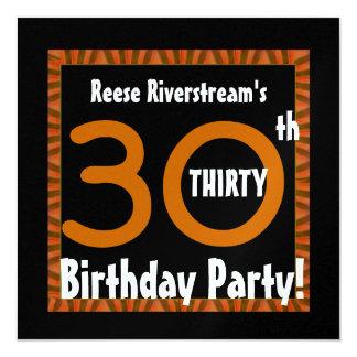 30th Birthday Gold Orange Black Stripes W412 5.25x5.25 Square Paper Invitation Card