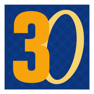 30th Birthday Huge Numbers Blue and Gold W951 13 Cm X 13 Cm Square Invitation Card