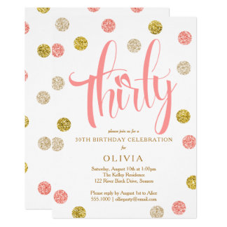 30th Birthday Invitation, Pink and Gold Card