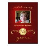 30th Birthday Invitations - Red & Gold Monogram