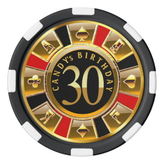 30th Birthday Las Vegas casino chip red black gold Poker Chips Set
