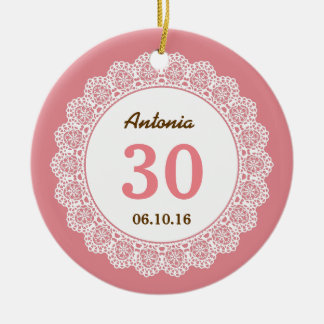 30th Birthday Memento Shell Pink with White Lace 7 Ceramic Ornament